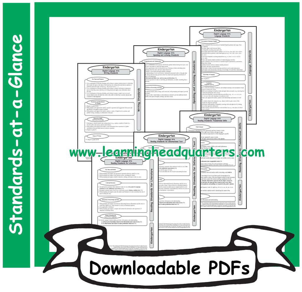 6: Common Core State Standards-at-a-Glance (ELA) - Downloadable PDFs