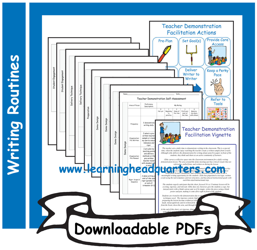 4: Teacher Demonstration Facilitation Tools: Writing - Downloadable PDFs