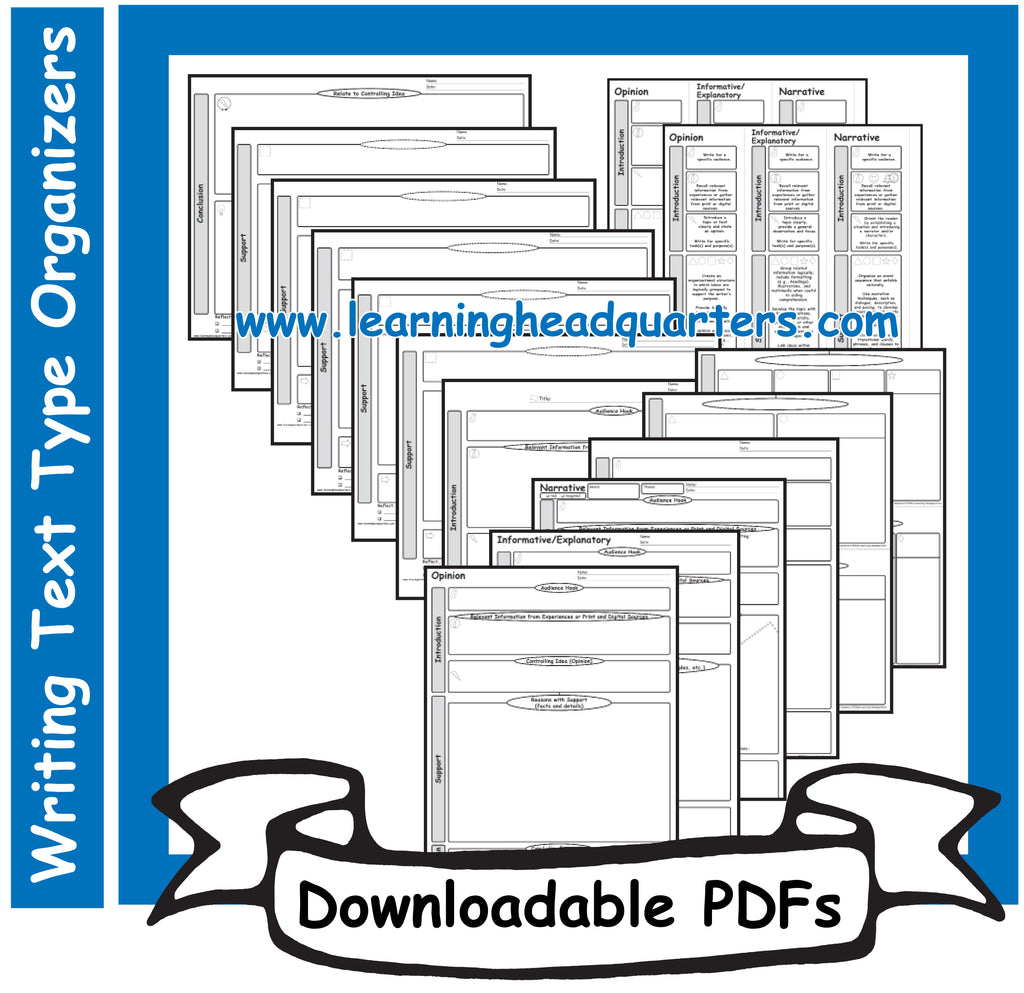 5: Writing Text Type Organizers - Downloadable PDFs