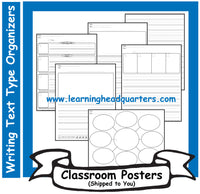 1: Writing Text Type INITIAL Organizers - Poster Set