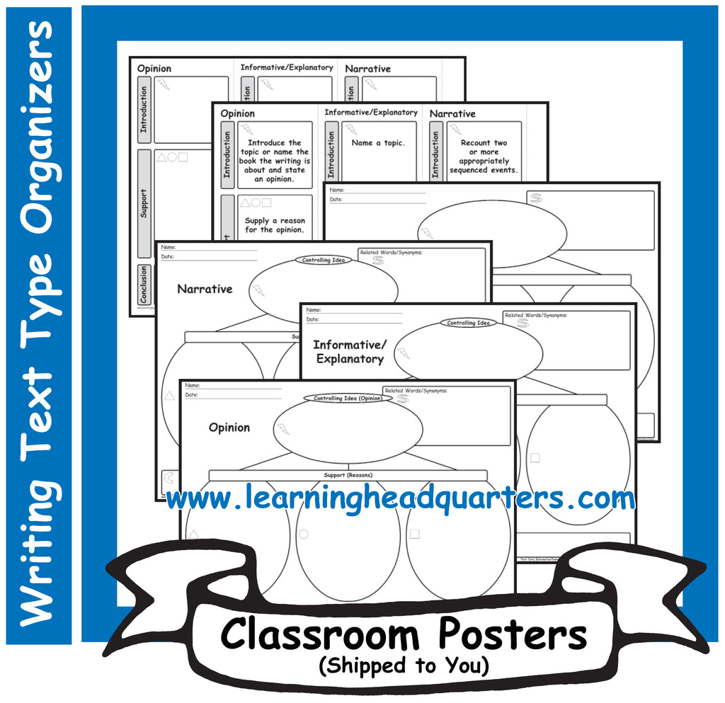 1: Writing Text Type EARLY Prewrite Organizers - Poster Set