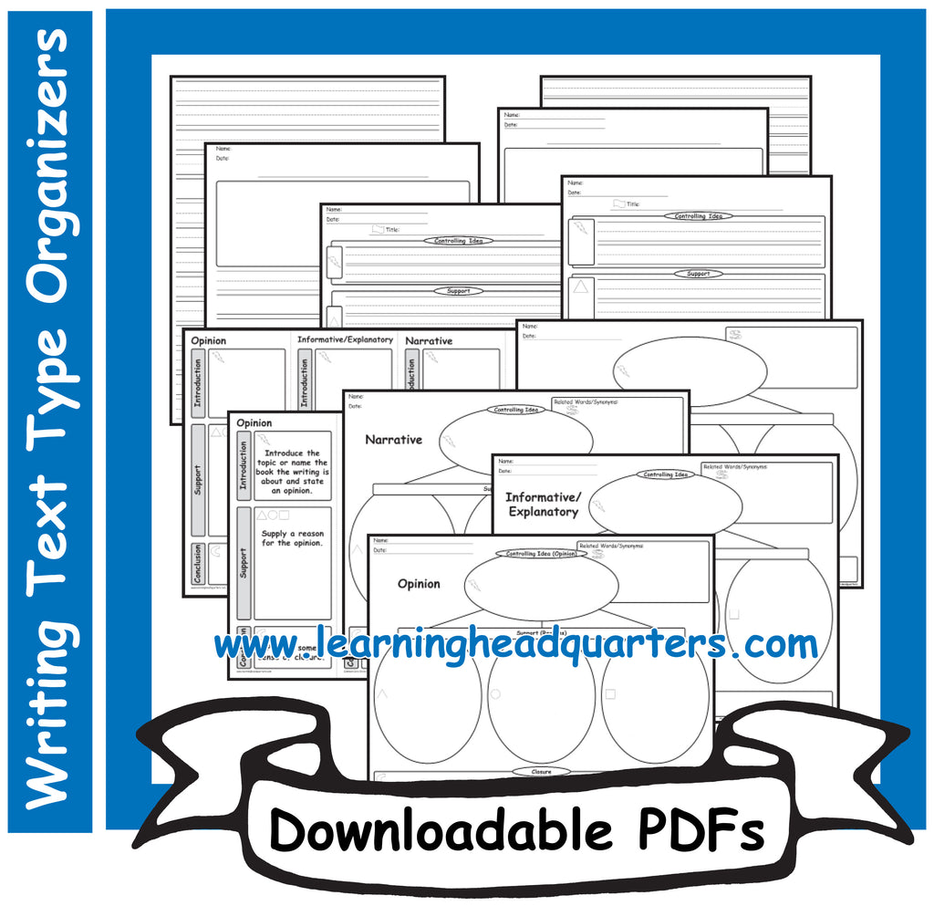 1: Writing Text Type EARLY Organizers - Downloadable PDFs