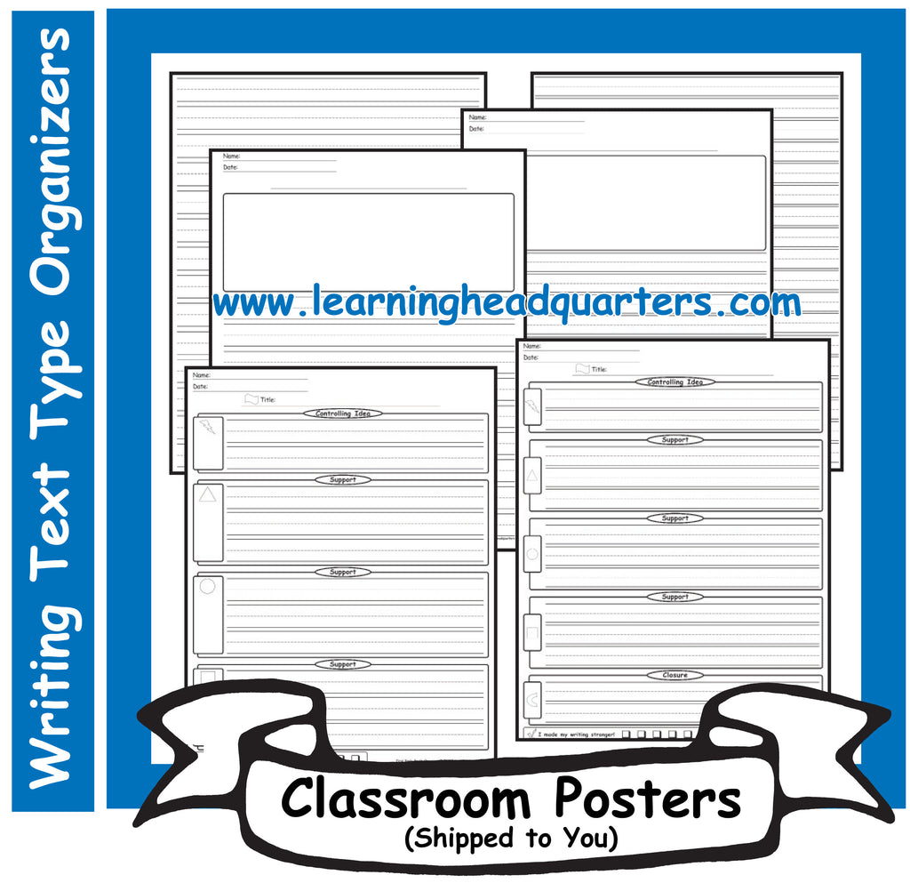 1: Writing Text Type EARLY Draft & Publishing Organizers - Poster Set