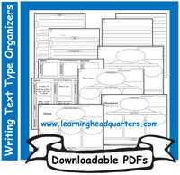 1: Writing Text Type Organizers - Downloadable PDFs
