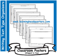 4: Writing Text Type Draft Organizers - Poster Set