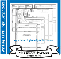 4: Writing Text Type Prewrite Organizers - Poster Set