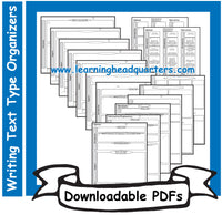 4: Writing Text Type Organizers - Downloadable PDFs