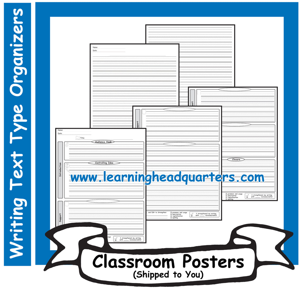 2: Writing Text Type EARLY Draft & Publishing Organizers - Poster Set