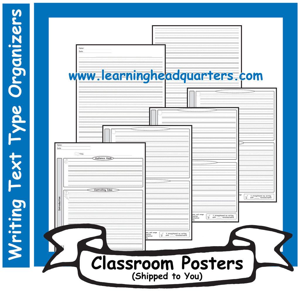 2: Writing Text Type Draft & Publishing Organizers - Poster Set