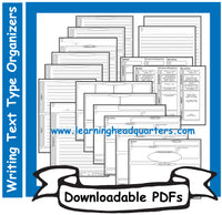 2: Writing Text Type Organizers - Downloadable PDFs