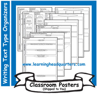 6: Writing Text Type Prewrite Organizers - Poster Set
