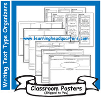 3: Writing Text Type Prewrite Organizers - Poster Set