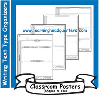 3: Writing Text Type Draft Organizers - Poster Set