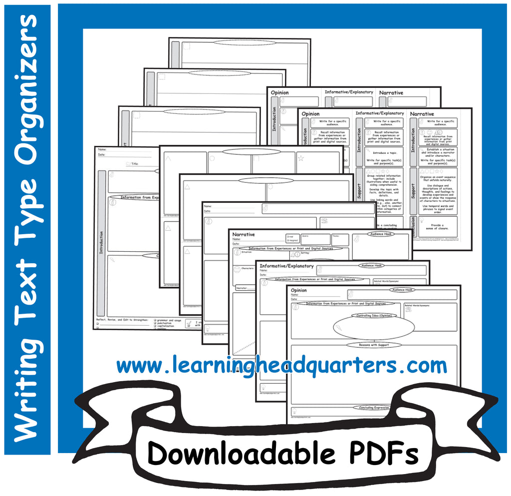 3: Writing Text Type Organizers - Downloadable PDFs