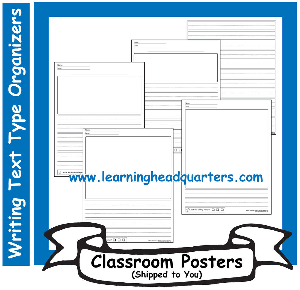 K: Writing Text Type Draft & Publishing Organizers - Poster Set