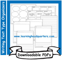 K: Writing Text Type Organizers - Downloadable PDFs