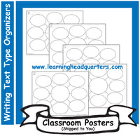 K: Writing Text Type Prewrite Organizer (Set of 5) - Poster Set