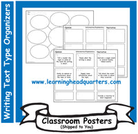 K: Writing Text Type Prewrite Organizers - Poster Set