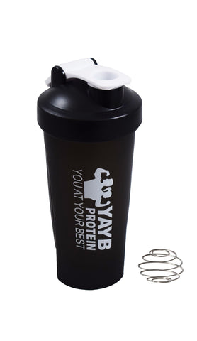 YAYB Protein Black Shaker (with carrying hoop & shaker ball)