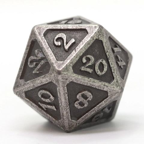 Single d20 - Mythica Dark Silver