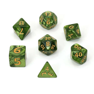 Mega Dice - Green Swirl w/ Gold