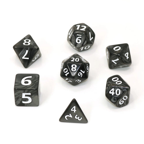 Mega Dice -Black Swirl w/ White