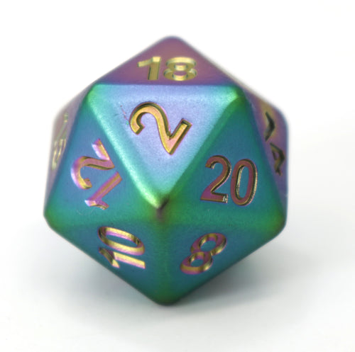 Single d20 - Forge Scorched Rainbow Satin