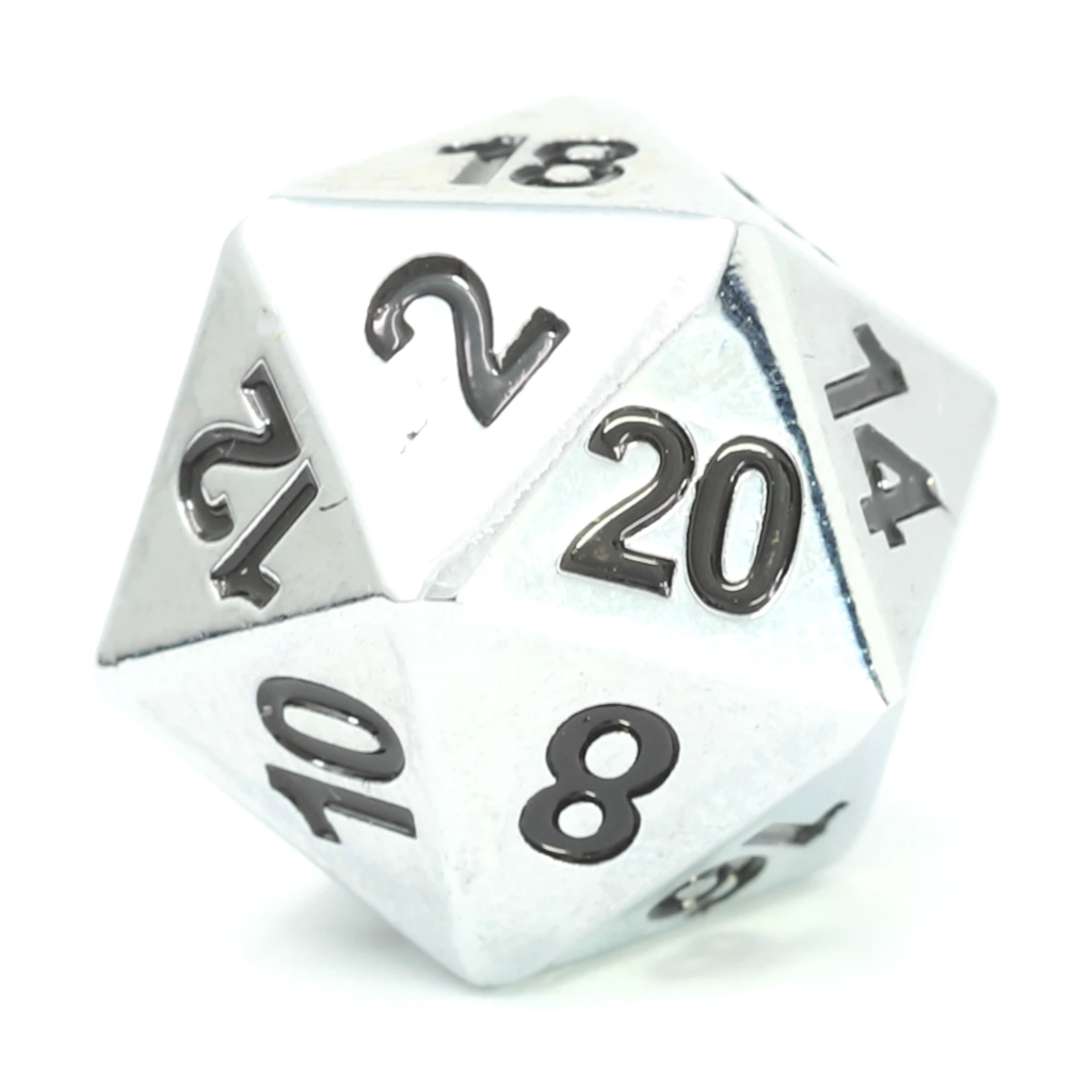 Single d20 - Forge Shiny Silver w/ Black