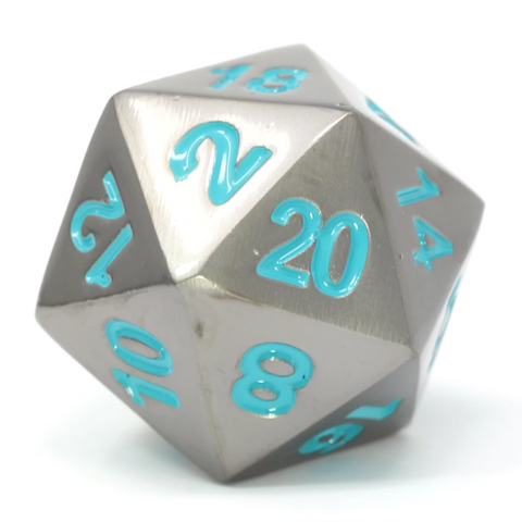 Single d20 - Forge Gunmetal w/ Teal