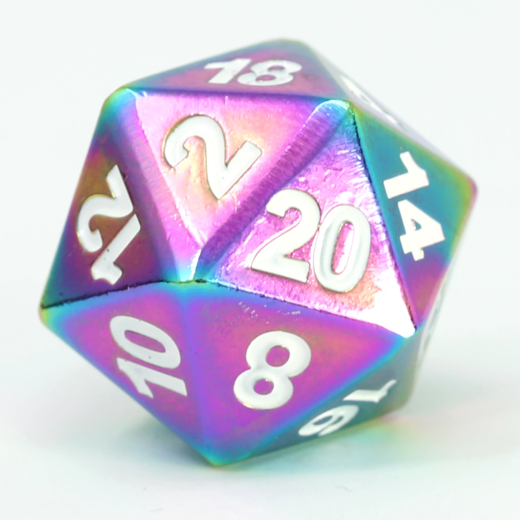 Single d20 - Forge Scorched Rainbow w/ White