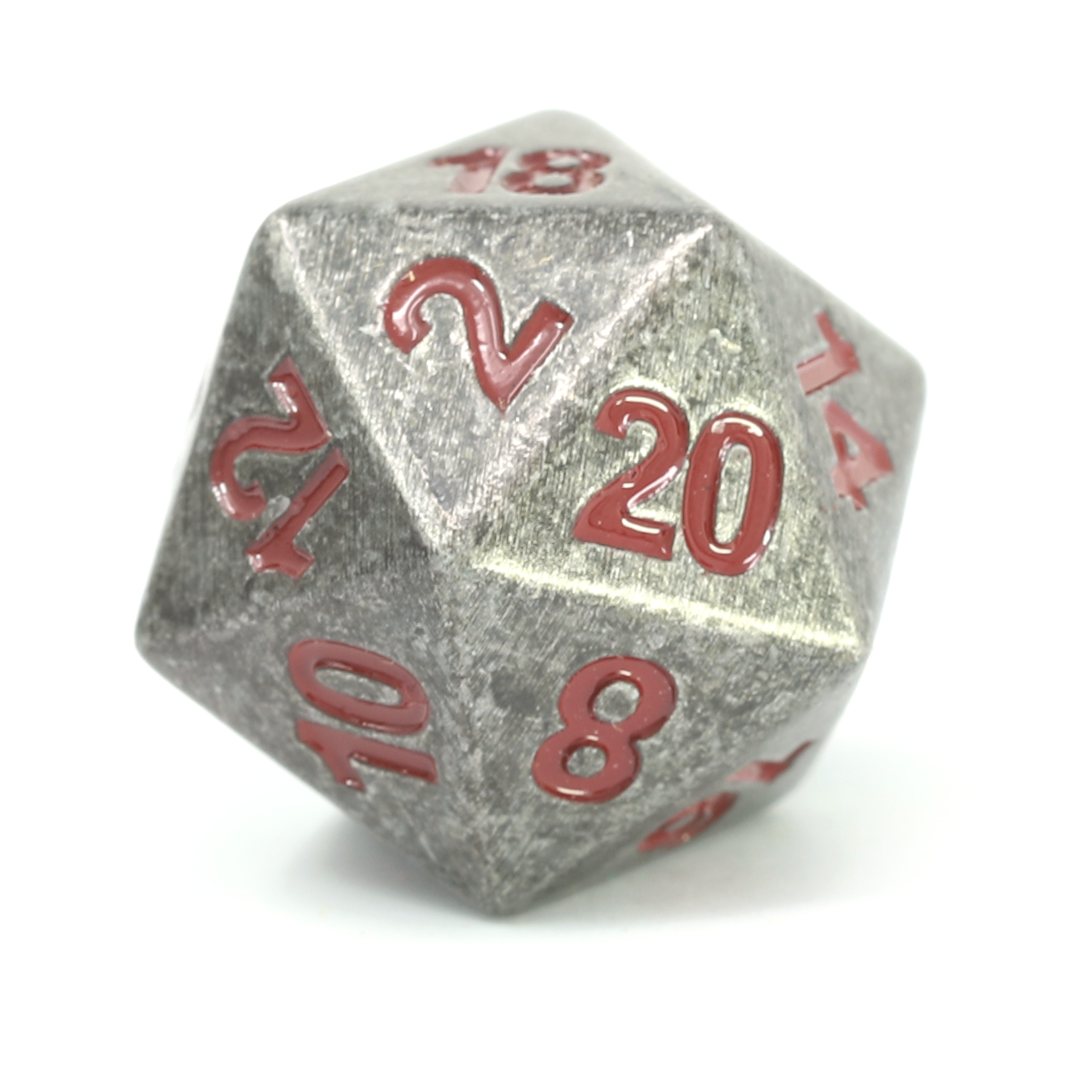 Single d20 - Forge Raw Steel w/ Dark Red
