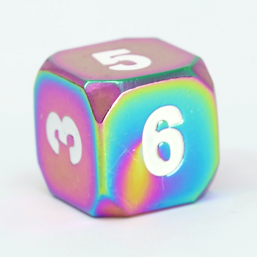 Single d6 - Forge Scorched Rainbow w/ White