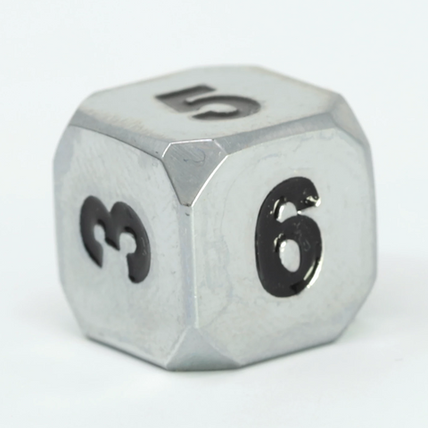 Single d6 - Forge Shiny Silver w/ Black