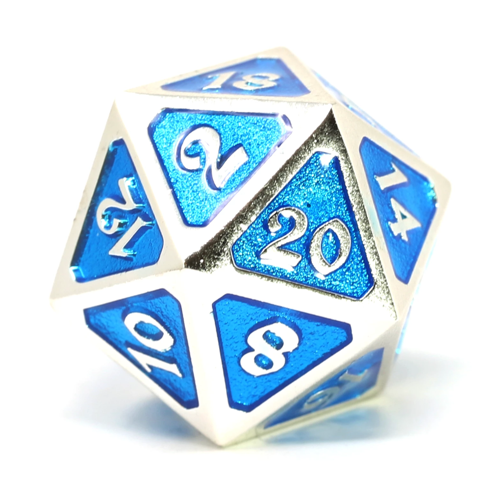 Single d20 - Mythica Platinum Aquamarine