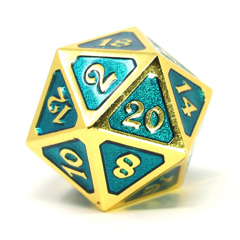 Single d20 - Mythica Gold Aquamarine