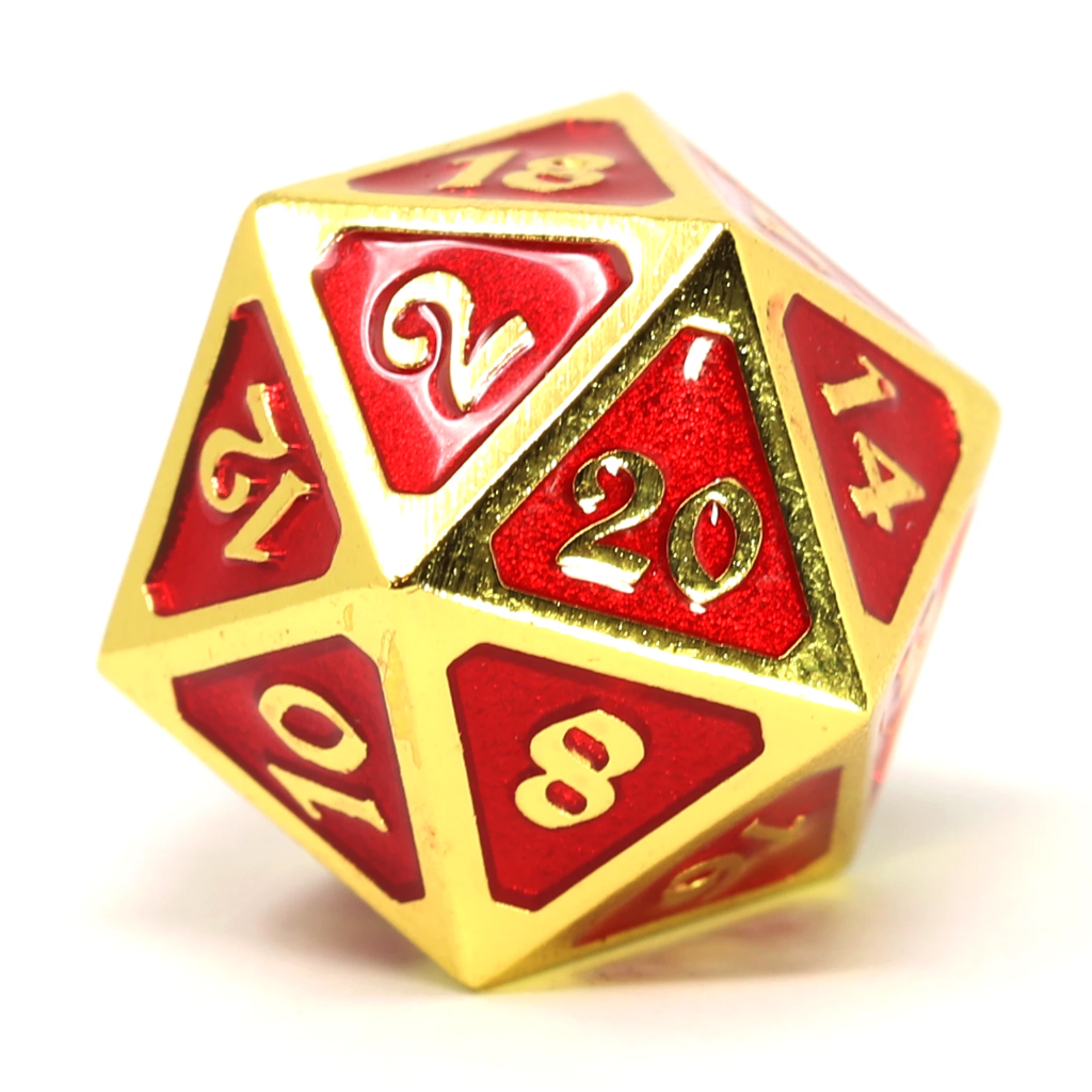 Single d20 - Mythica Gold Ruby