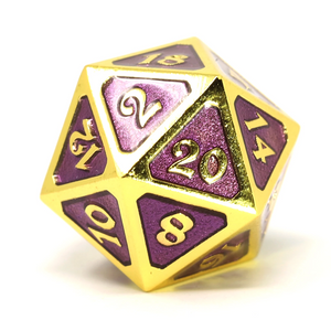Single d20 - Mythica Gold Amethyst