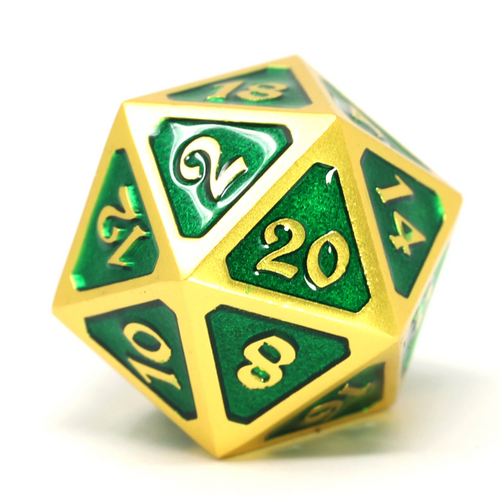 Single d20 - Mythica Satin Gold Emerald