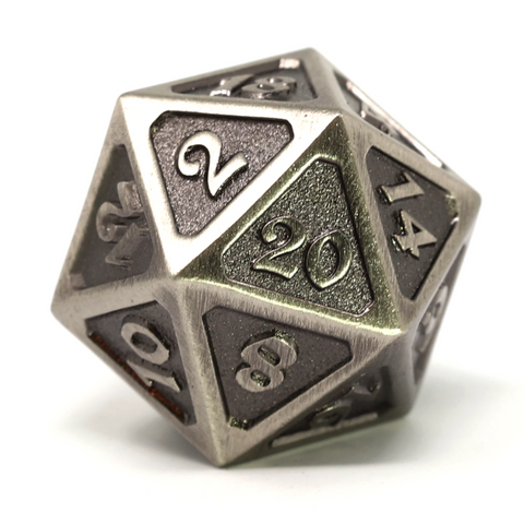 Single d20 - Mythica Battleworn Silver