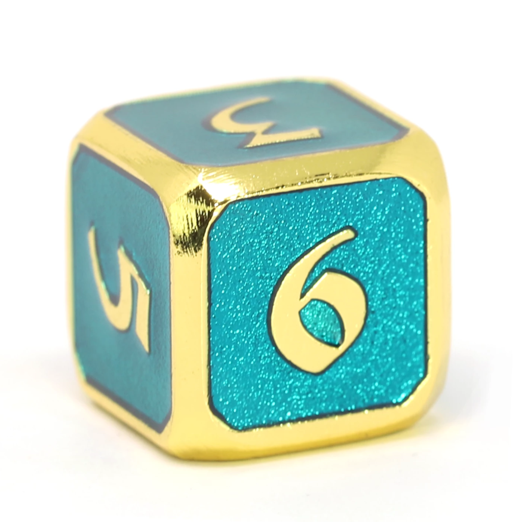 Single d6 - Mythica Gold Aquamarine