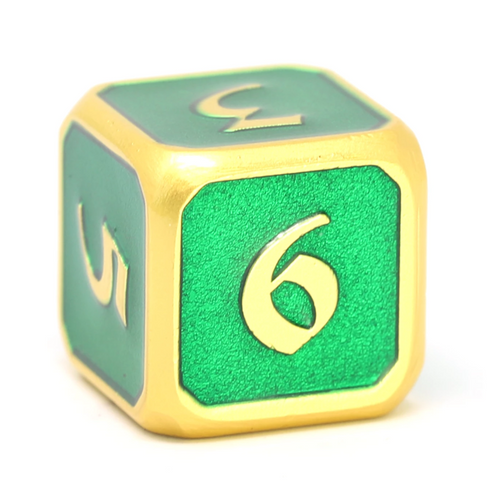 Single d6 - Mythica Satin Gold Emerald