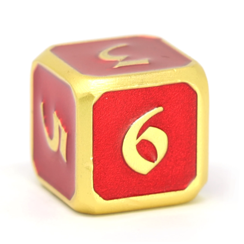 Single d6 - Mythica Satin Gold Ruby