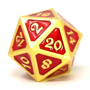 Single d20 - Mythica Satin Gold Ruby