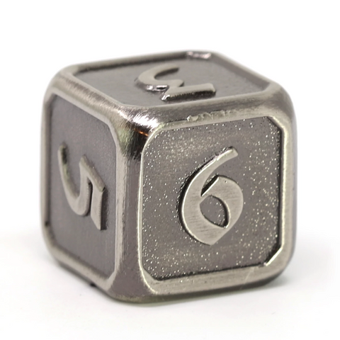 Single d6 - Mythica Battleworn Silver