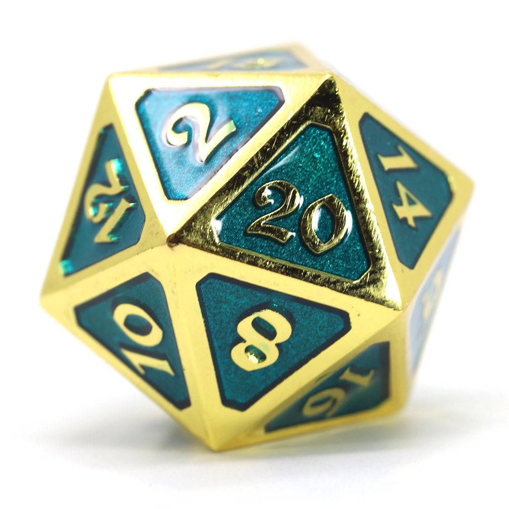 Dire d20 - Mythica Gold Aquamarine