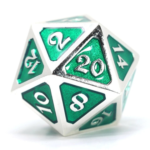 Single d20 - Mythica Platinum Emerald