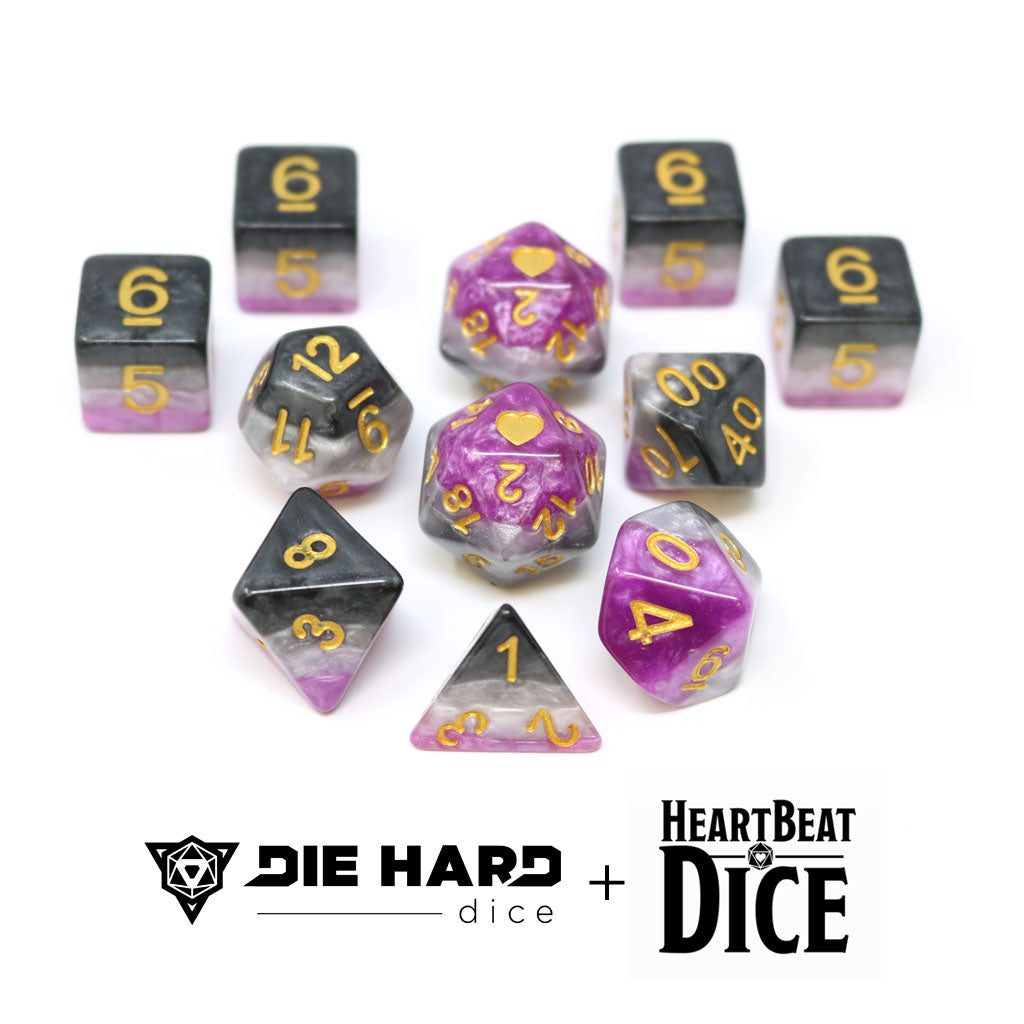 HeartBeat Dice - Opaque Asexual Pride Set