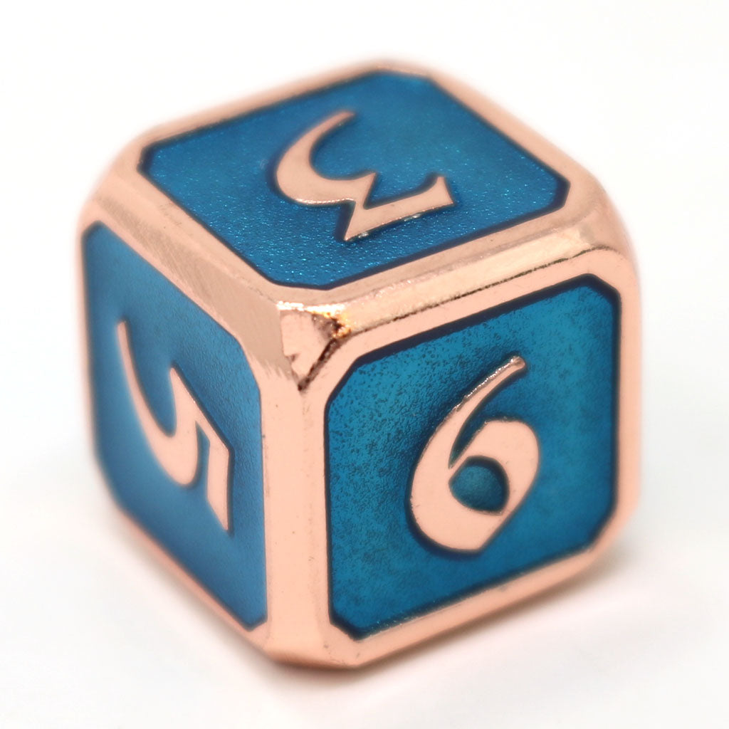 Single d6 - Mythica Copper Aquamarine