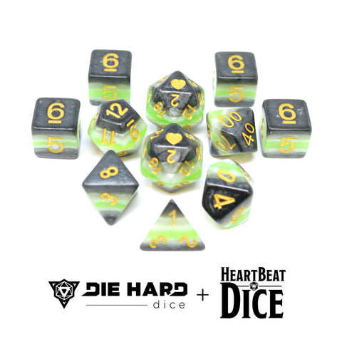 HeartBeat Dice - Opaque Agender Pride Set