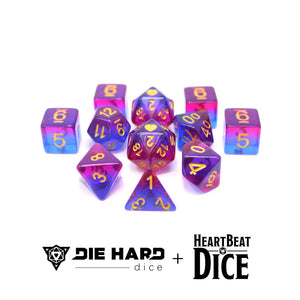HeartBeat Dice - Translucent Bisexual Pride Set